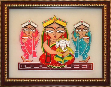 jamini_roy_parvati_and_ganesha_with_lakshmi_and_swaraswati_ca201_