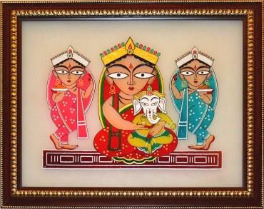 jamini_roy_parvati_and_ganesha_with_lakshmi_and_swaraswati_ca201_